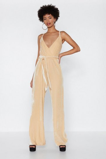 Womens Nude Stay in Touch Velvet Jumpsuit