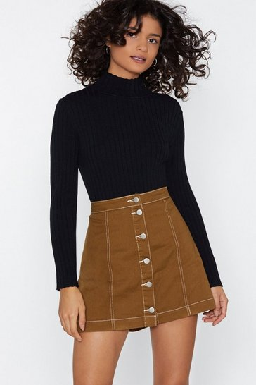Womens Tobacco What's the Stitch Mini Skirt