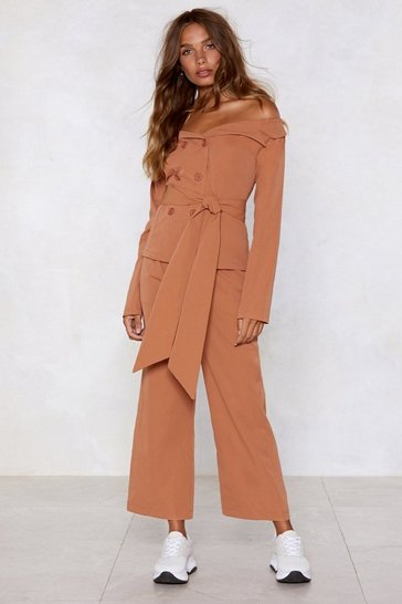 Womens Terracotta Take the High Road Wide-Leg Trousers