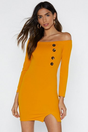 Womens Mustard Knock on Wood Mini Dress