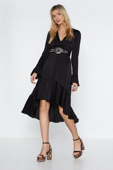 Womens Black The Midi Man Satin Dress