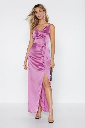Womens Rose From Ruche With Love Satin Dress