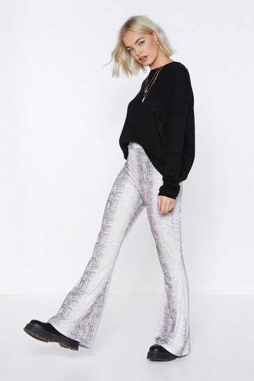 Womens Taupe Whatever It Snakes Flare Trousers
