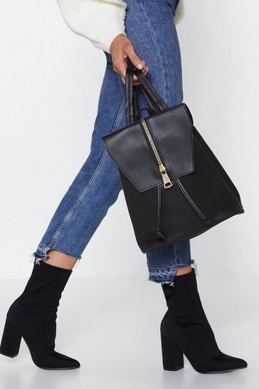 Black Faux Leather Drawstring Zip Backpack