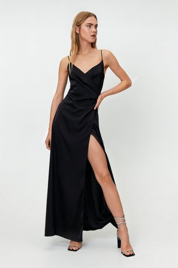 Black Satin V Neck Wrap Maxi Dress