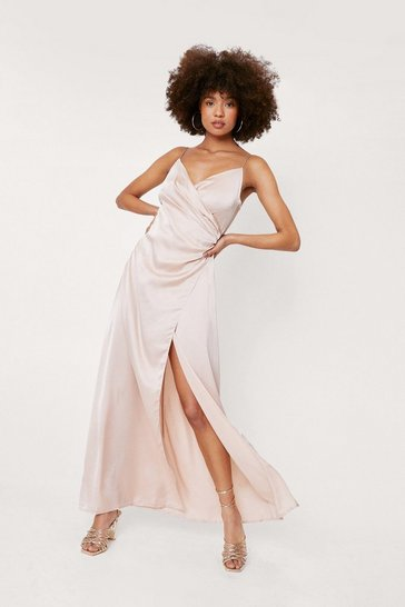 Champagne Satin V Neck Wrap Maxi Dress
