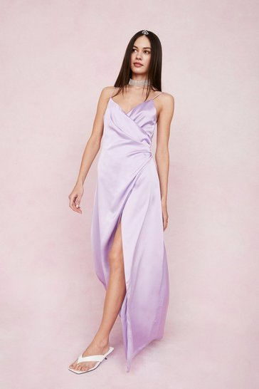 Lavender Satin V Neck Wrap Maxi Dress