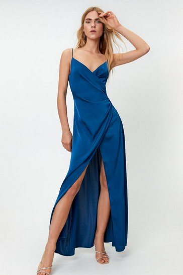 Navy Satin V Neck Slit Maxi Dress