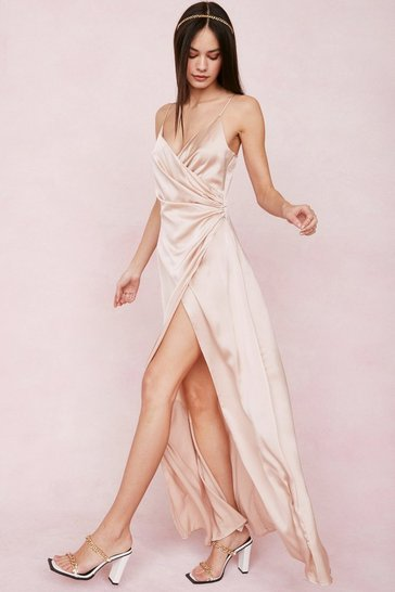 Soft pink Satin V Neck Wrap Maxi Dress