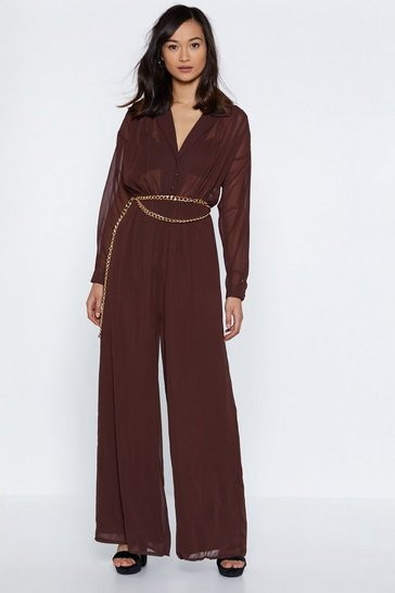 Womens Chocolate Chiffon Your Shoulder Wide-Leg Jumpsuit