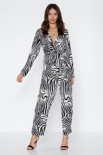 Womens White On the Jump Zebra Jumpsuit