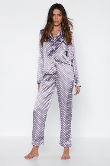 Womens Mauve Mark the Spot Polka Dot Top and Pants Pajama Set