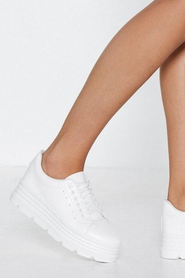 Womens White Make a Break For It Platform Trainers