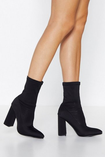 Black Faux Suede Sock Boots