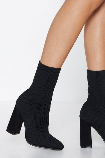 Black Calf Heeled Sock Boots