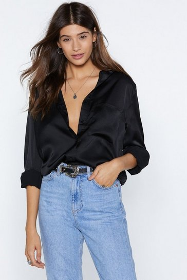 Black Silky Button Down Satin Shirt