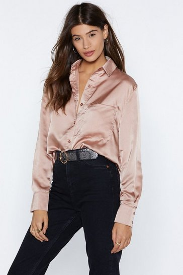 Mink Silky Button Down Satin Shirt