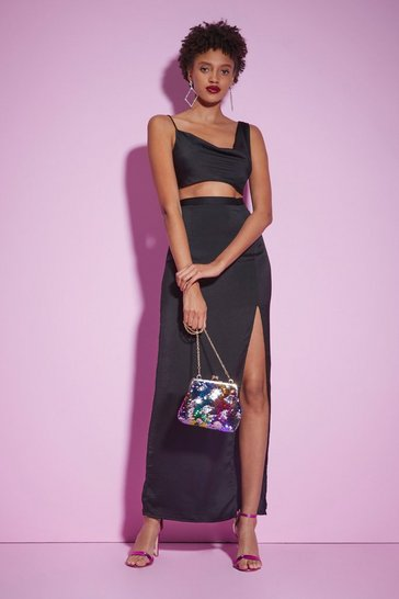 Black Nasty Gal Studio Dance Room Satin Skirt