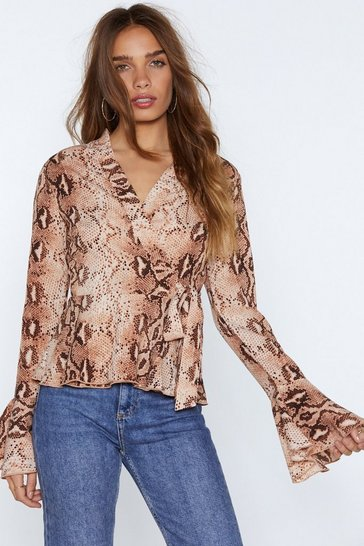 Womens Blush Snake That Wrap Blouse