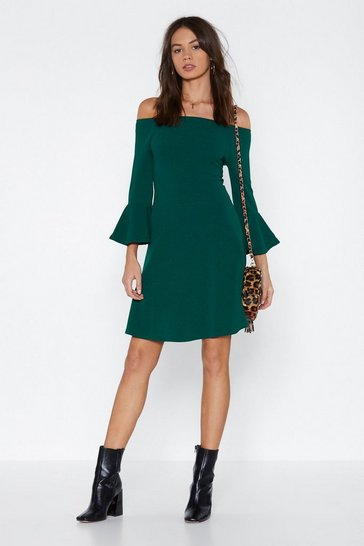 Womens Green And She's Off-the-Shoulder Mini Dress