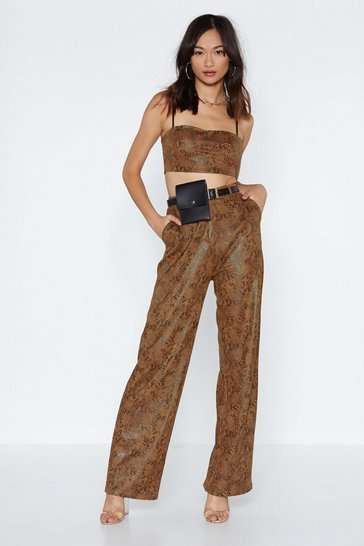 Womens Brown Snake a Piece of My Heart Wide-Leg Trousers