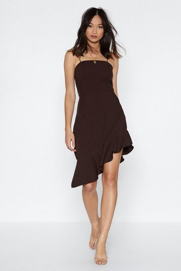 Womens Chocolate Up and At 'Em Asymmetric Mini Dress