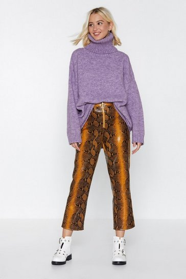 Womens Tan Snake 'Em Wait High-Waisted Trousers