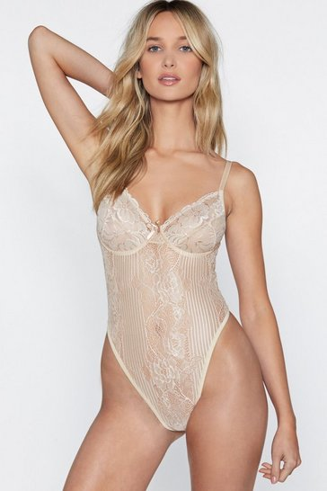 Womens Nude Lace Orders Cupped Bodysuit