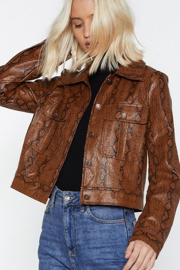 Womens Brown Let's Snake Up Jacket