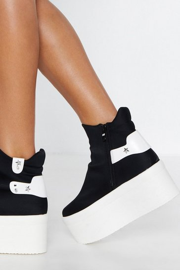 Womens Black Star-t Over Platform Trainers
