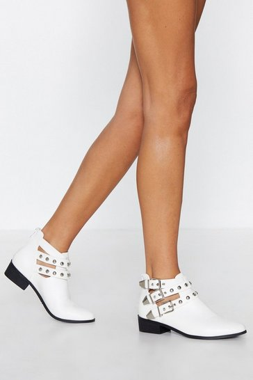 Womens White Stud Have Fooled Me Studded Boot