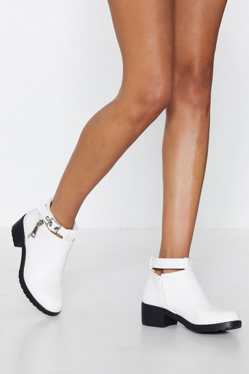 Womens White Good For the Sole Faux Leather Boot