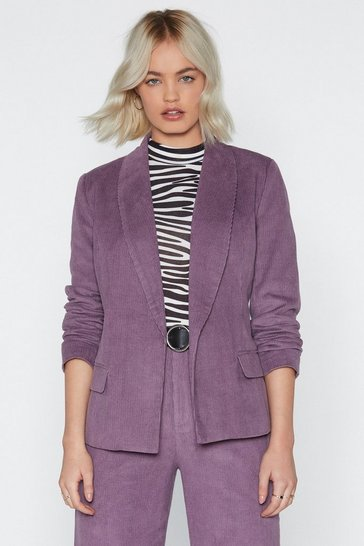 Purple Suited and Booted Corduroy Blazer