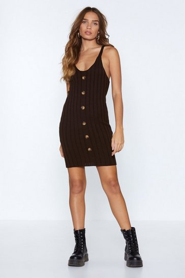 Womens Chocolate We Know We Button Knit Dress
