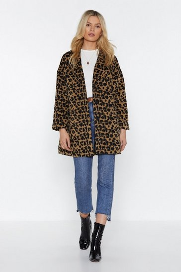 Womens Camel This Ones Fur You Leopard Coat