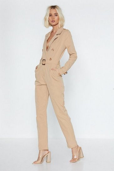 Womens Beige Sergeant Major Jumpsuit