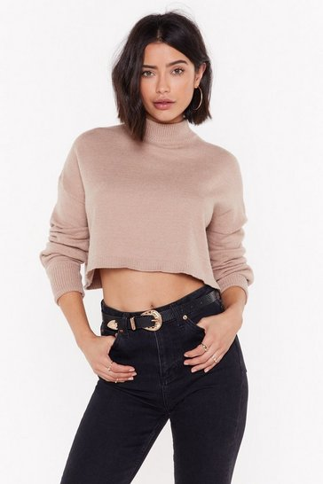 Womens Taupe Falling Hard Cropped Jumper