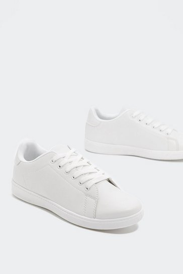 Womens White Clean Up Your Act Faux Leather Sneaker
