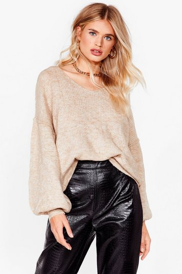 Warm Up to Me Balloon Sleeve Sweater, Camel, FEMMES