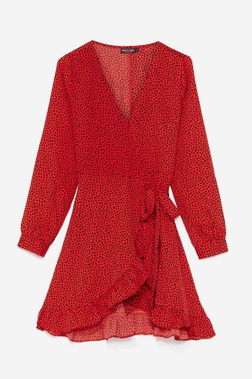 Red Polka Dot Long Sleeve Wrap Mini Dress