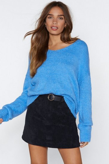 Womens Blue Whatever Knit Takes Relaxed Sweater