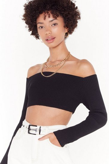Womens Black Meet Me in the Middle Ribbed Crop Top