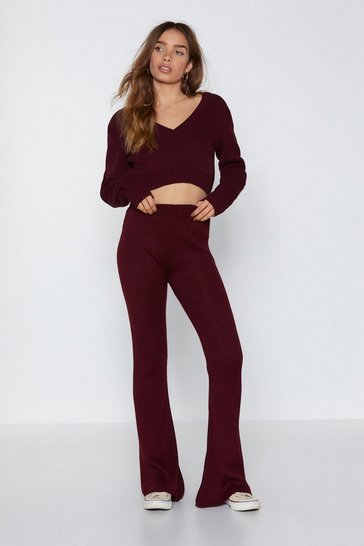 Womens Claret Are You into Knit Flare Pants