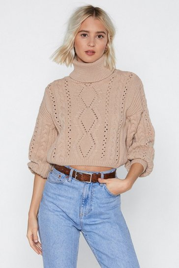 Stone Knit's Not Right But Knit's Okay Cable Sweater
