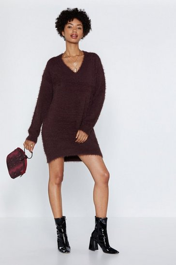 Womens Chocolate We Really Know Our Fluff Jumper Dress