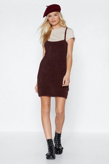 Womens Chocolate Get Over Knit Mini Dress