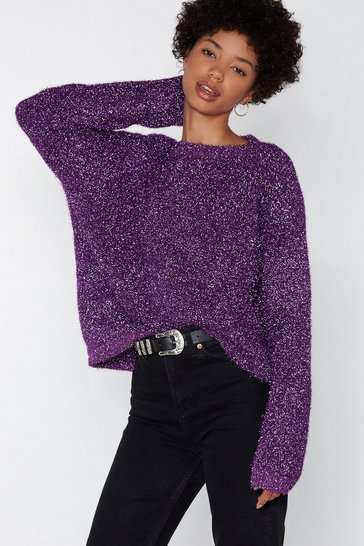 Womens Purple Time to Tinsel It Jumper