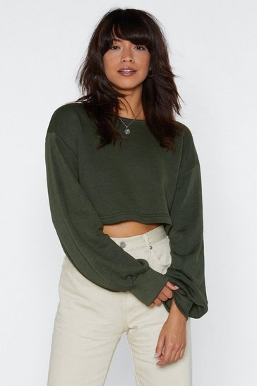 Womens Khaki Inflated Ego Cropped Sweater