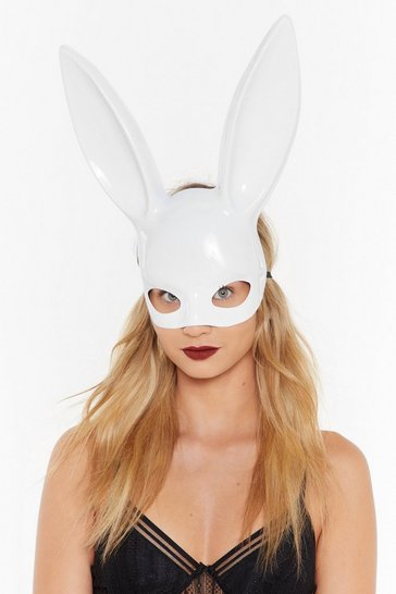 Womens White You Ok Bun Bunny Mask