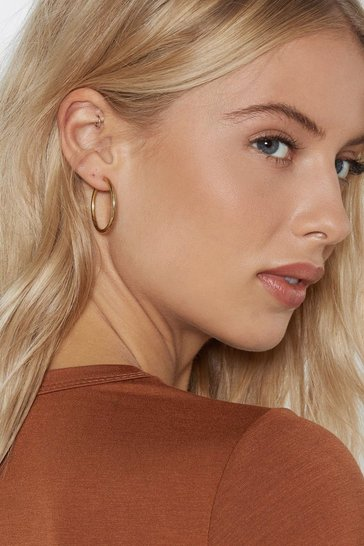 Womens Gold Whether You Win or Tube Hoop Earrings